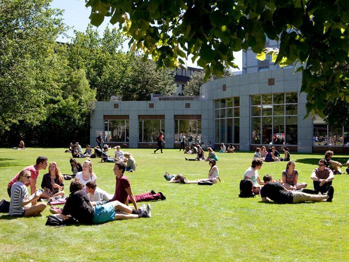 Alunos relaxando no campus da Universidade   Foto: University of Canterbury