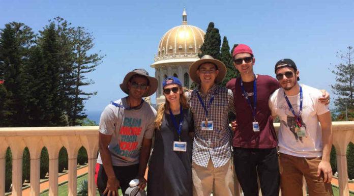 Instituo Weizmann | Vinicius Muller e Daniel Burghardt em Haifa com bolsistas dos EUA | Crédito: Divulgação